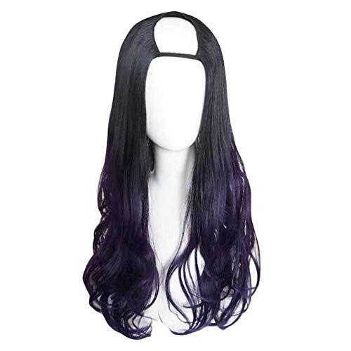 Violet/Noir 65 cm U Shape 2 Tone longs cheveux bouclés perruque synthétique pleine perruque cospla