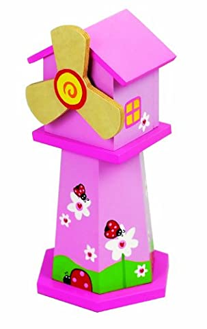 Music Box World Tirelire cochon rose en forme de moulin à vent Joue la mélodie What A Wonderful World Rose