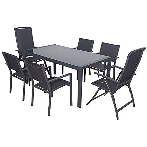 DOMI - Set de comida exterior de 7 piezas de aluminio textilene. Con una mesa moderna de vidrio rectangular, 4 sillas apilables y 2 sillas