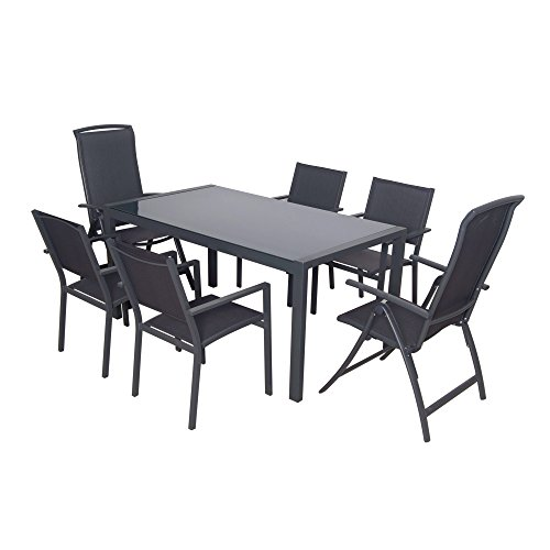 Domi Palma - 7-teiliges Freizeit-Esstisch-Set für die Terasse, textilenbezogene Gartenmöbel aus Aluminium, bestehend aus 1 modernen rechteckigen Glastisch, 4 stapelbaren Stühlen und 2 faltbaren Stühlen