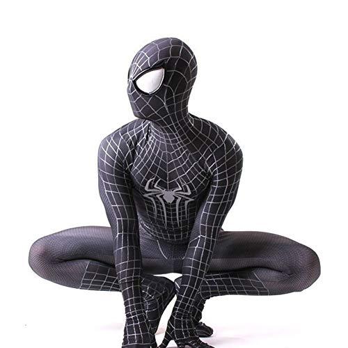 Bodysuit Kostüm Männer - KOUYNHK Erwachsene Männer Kinder Miles Morales Amazing Spiderman Cosplay Kostüm Zentai Spiderman Pattern Bodysuit,Black-M