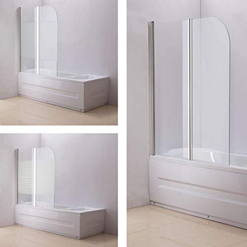 CLP Nano Duschabtrennung für die Badewanne Anschlag Links | Faltbarer Badewannenaufsatz aus Sicherheisglas | 2 teilige Duschwand milchglas