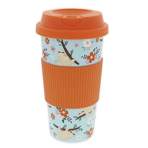 Close Up Faultier Travel Mug to Go Becher - Mint-orange, Multicolor Bedruckt, aus Kunststoff. -