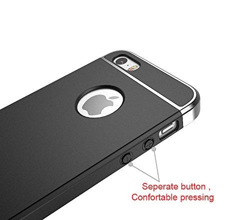Custodia iPhone SE Custodia iPhone 5s Custodia iPhone 5 Silicone, Case Cover 3-in-1 Materiale + Placcatura Opaco plating Matte Material per iPhone SE/ iPhone 5s/ iPhone 5 Smartphone (oro) Nero/Grigio