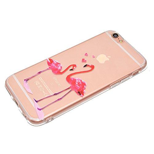 Sycode Custodia per iPhone 6S 4.7,Cover per iPhone 6 4.7,Silicone Trasparente Case per iPhone 6S/6 4.7,Liquido Cristallo Chiaro Carina Divertente Motivo Cartone Elefante Panda Morbida Flessibile Si Rosa Fenicotteri