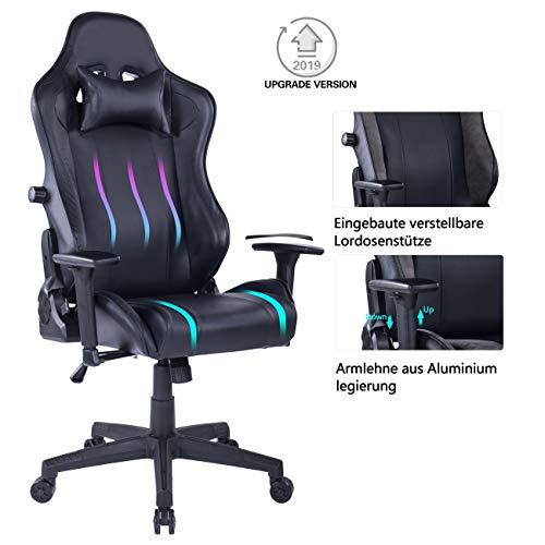 Wolmics Gaming-Stuhl mit Integrierter Lordosenstütze, 180 kg Tragkraft Computer-Stuhl Schreibtischstuhl Rennstil Ergonomisches Design Bürostuhl Drehstuhl aus PU-Leder Chefsessel WS238 Schwarz