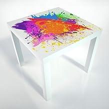 Table Basse + pellicule de protection + 55x55 cm + table blanche + table basse + enfants + motif 130103-40_tb
