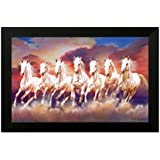 SAF 7 Running Horses Vastu Synthetic Framed Painting (35 cm x 50 cm x 3 cm)