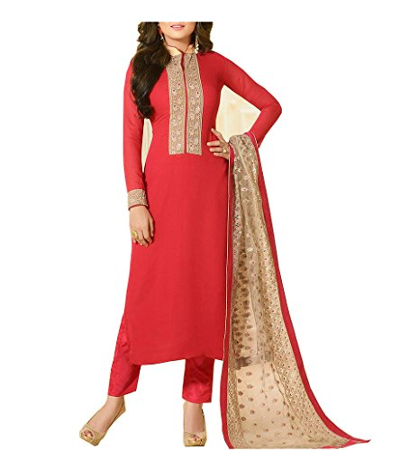 Royal Export Women\'s Faux Georgette Red Anarkali Salwar Suit