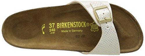 Birkenstock Madrid Birko-Flor, Mules femme Beige (Shiny Snake Cream)