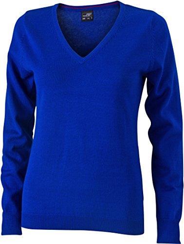 Ladies' V-Neck Pullover - taillierter Damen V-Neck Pullover XXL,Royal (V-neck Royal)