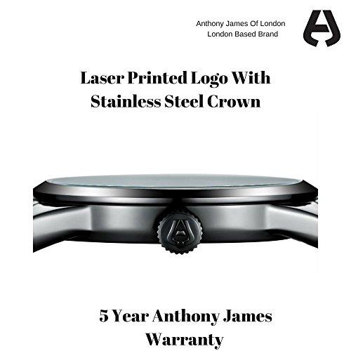 Prime Day Sale Anthony James Vintage Black Men's Dress Watch – Smart, Durable Design for the Modern Man with Black Metal Case, Metal Wrist Band, and Lifetime Manufacturer's Warranty