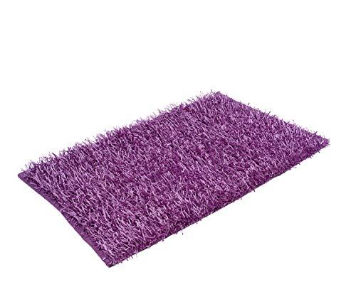 Goezze shaggy - tappeto a pelo lungo a effetto metallizzato tinta unita 60x100cm lilla