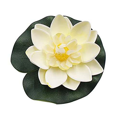 Artificial Flower Lotus, Hankyky 5pcs 10-cm-diameter EVA Plastic Floating Water Lily Leaves Pond Decoration Fountain Aquarium Fish Tank