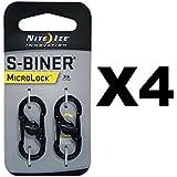 Nite Ize Nite Ize S-Biner MicroLock Black Locking Biners Keychain Pet Tags (4-Pack Of 2)