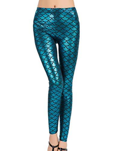 Minetom Damen Fischschuppe Glanz Leggings Fisch Schuppen Scale Glänzend Strumpfhose Hüfthose Hose Karneval Kostüm Mädchen Elastisch Skinny Pants Blau (Hologramm Kostüme)