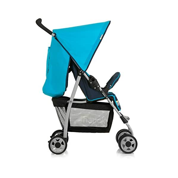 Hauck Sport, Pushchair from Birth to 15 kg with Lying Position, Easy and Compact Folding Sport Stroller, Bumper Bar, Shopping Basket, Moonlight/Capri Hauck Lightweight - This puschair is very light and agile with 5, 9 kg only, easy to push with one hand, convenient on shopping trips Comfy - Backrest and footrest can be adjusted into lying position, making it suitable for new-borns; hood with UV protection, large shopping basket On travels - Thanks to its easy and compact folding, this pushchair will accompany you simply everywhere, no matter whether on holiday or to grandma's and grandpa's 4