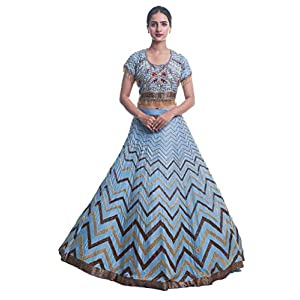 aaaina Women's Fine Silk Lehnga Choli with Heavy Stone Beads (A0034, Blue, XX-Large)