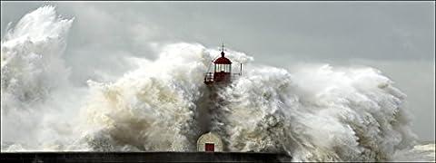 Pro-Art-Bilderpalette de photos Palette gla1327o Wave Type de et verre Lighthouse, multicolore, 50x 125x 1,4cm