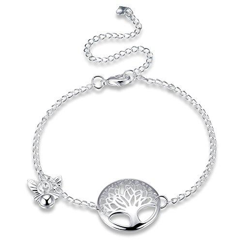 Addfect Fußkettchen Lebensbaum Damen Frauen mit Glöckchen in Silber Verstellbar Länge 20-30cm für Freundschaft Geschenk