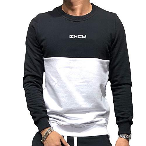 ZIYOU Herren Langarmshirt Slim Fit Pullis Sport Fitness Training Sweater Männer Rundhals Pullover Sweatshirt (EU-52 / CN-2XL,Schwarz)