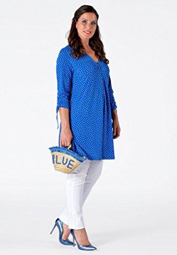 Yoek Femme Grande Taille Gilet à pois bleu / blanc