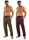 Sesto Senso Herren Schlafanzughose Lang Kariert Pyjamahose 100% Baumwolle 1er - 2er Pack Pyjama Nachtwäsche (XL, 3+4)