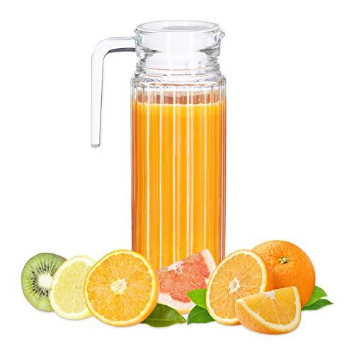 Relaxdays Saftkrug 1 l, Gastro, Henkel, Glas, spülmaschinenfester Pitcher, Wasserkaraffe, Deckel, Schmale Form, klar, Standard,