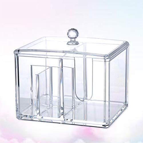 Lurrose 1pc Cotton Swab Dispenser Acrylic Clear Sturdy Cosmetics Cotton Ball Swab Makeup Box Holder Behälter -