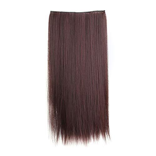 IMHERE W U de las Mujeres largas rectas del Pelo falso señoras de fibra de alta densidad Natural de temperatura peluca Extensiones Patch pinza de Pelo (De Temática Fiesta Halloween)