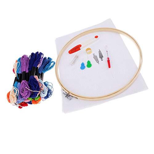 Tubayia Stickerei Starter Kit Kreuzstich DIY Nähen Handwerk Punch Nadel 50 Farbfäden Set Geschenk für Anfänger Kinder - Punch-stickerei-starter-kit