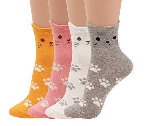 Happytree Damen Crew-Socken 3–6 Stück, lustige coole Katzen, Hunde, Cartoon-Design, gute Geschenkidee, Einheitsgröße Gr. Einheitsgröße, Cats Footmark 4 Pairs