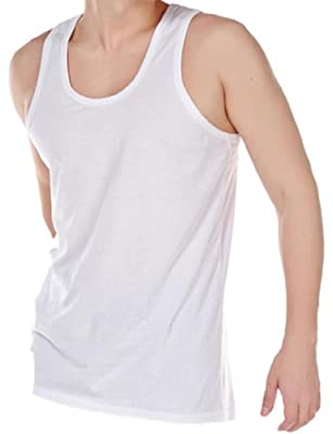 Pack of 6 Mens 100% Cotton Summer Weight Singlet Vests Underwear / White / Available in sizes Small / Medium / Large / X Large / XX Large
