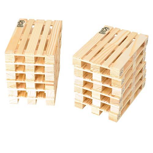 Palette Maßstab 1:10 Untersetzer aus Holz im 12er Set - Europalette Glasuntersetzer Bierdeckel Euro-Palette Unterleger -