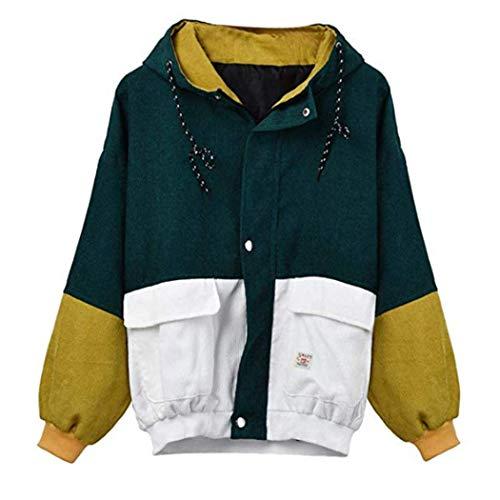 Coats Damen, Kimodo Neu Frauen Langarm Cord Patchwork Oversize Jacke Windbreaker Mantel (Grün, XL)