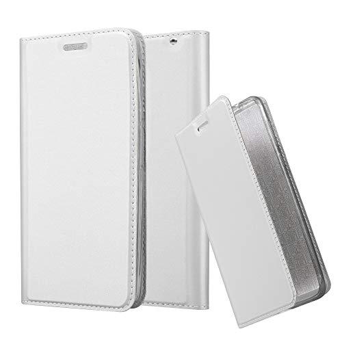 Cadorabo Hülle für Motorola Moto X Play - Hülle in Silber – Handyhülle mit Standfunktion und Kartenfach im Metallic Look - Case Cover Schutzhülle Etui Tasche Book Klapp Style