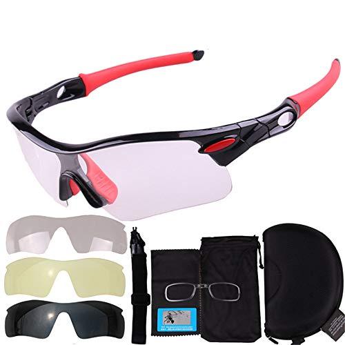 DMMW Sport-Sonnenbrillen Farbe Radfahren Gläser The Sun Sports Mountain Bike Brillen und Schutzbrillen im Freien für Skifahren Golf Laufen Radfahren (Farbe : Rot)