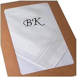 3 gestickte mit Monogramm weiße Taschentücher
