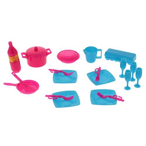 Gazechimp 18er / Set Miniatur Küche Geschirr Set für Puppen Zubehör Kinder Spielzeug
