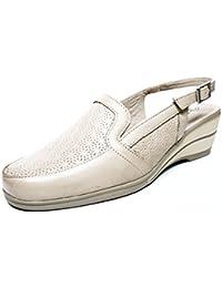 Zapato casual mujer salon en piel perforada Plata de la marca PITILLOS cuña con plataforma - 1021 - 553 (35, Plata)