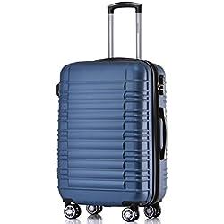 BEIBYE Zwillingsrollen Reisekoffer Koffer Trolleys Hartschale in XL-L-M in 14 Farben (Blau, L)