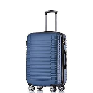 BEIBYE Zwillingsrollen Hardcase Reisekoffer Koffer Trolleys Hartschale in XL-L-M in 14 Farben (Blau, M)
