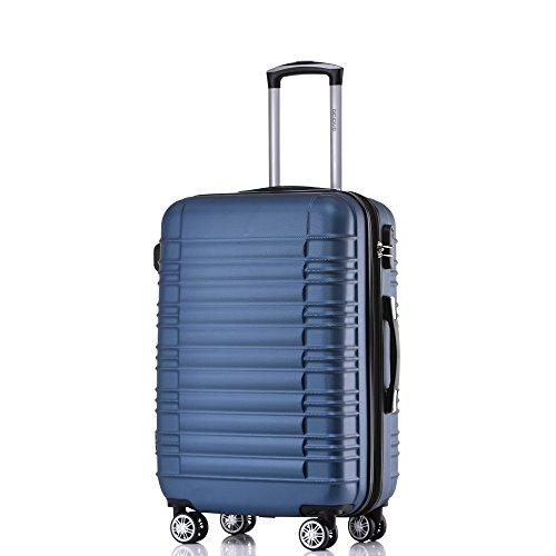 BEIBYE Zwillingsrollen Hardcase Reisekoffer Koffer Trolleys Hartschale in XL-L-M in 14 Farben (Blau, L)