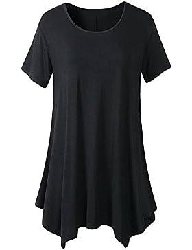 Qitun Mujeres Irregular Vestidos Casual Suelto Loose Gran Camiseta Mangas Corto Pullover T-Shirt
