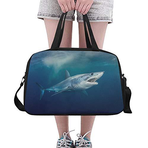 Zemivs Heftiger Awful Shark Große Yoga Gym Totes Fitness Handtaschen Reise Seesäcke Schultergurt Schuhbeutel für die Übung Sport Gepäck für Mädchen Männer Womens Outdoor