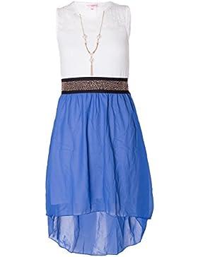 Mdchen rmelloses Taille Band asymmetrisch Chiffon-Kleid mit Halskette, Blau, 11/12 years
