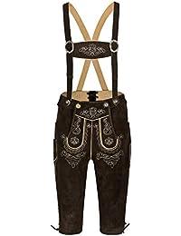 Herren Trachten Lederhose Oktoberfest Kniebundhose mit Trägern in 3 Farben, Trachtenlederhose in Größe 46 bis 60 - bayerische Trachten Lederhosen - Lederhosen