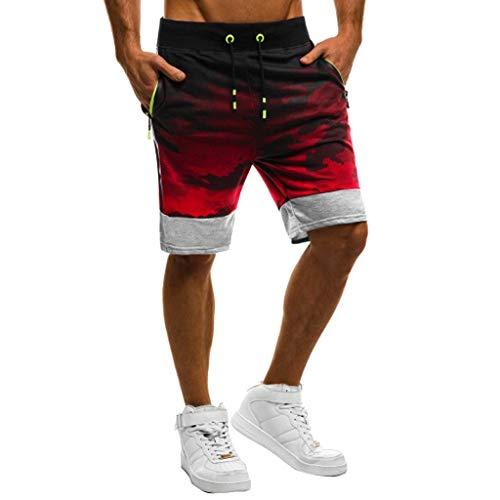 ZEZKT Sporthose Herren Freizeit Beachshorts Hot Pants Gedruckt Badeshorts, Männer Fitness Camouflage Patchwork Bodybuilding Pocket Skin Kurze Sporthose UV Schutz Sporthose M-3XL (Männer Hot Pants)