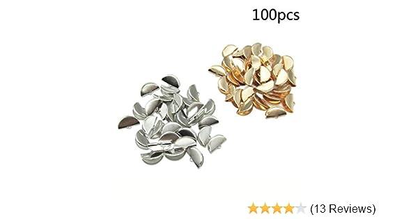 100pcs Half Round Ribbon Crimp End Clip Cord Cap Tip Connectors 20mm Silver