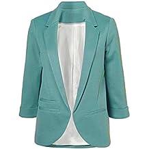 Minetom Femme Élégant Blazer à Manches Longues Slim Fit OL Veste De Costume  Basique Ajusté Manteau 3bd82c8aec2e